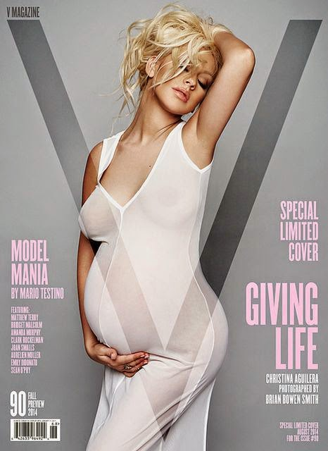 Pregnant Christina Aguilera poses in a sheer dress for V Magazine Fall 2014