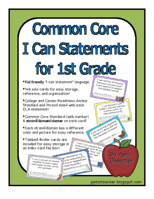 gwhizteacher, common core I can Statements, first grade Common Core