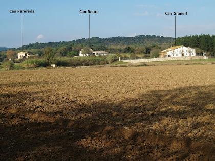 Les masies de Can Perereda, Can Roure i Can Granell des del camí de Can Telleda