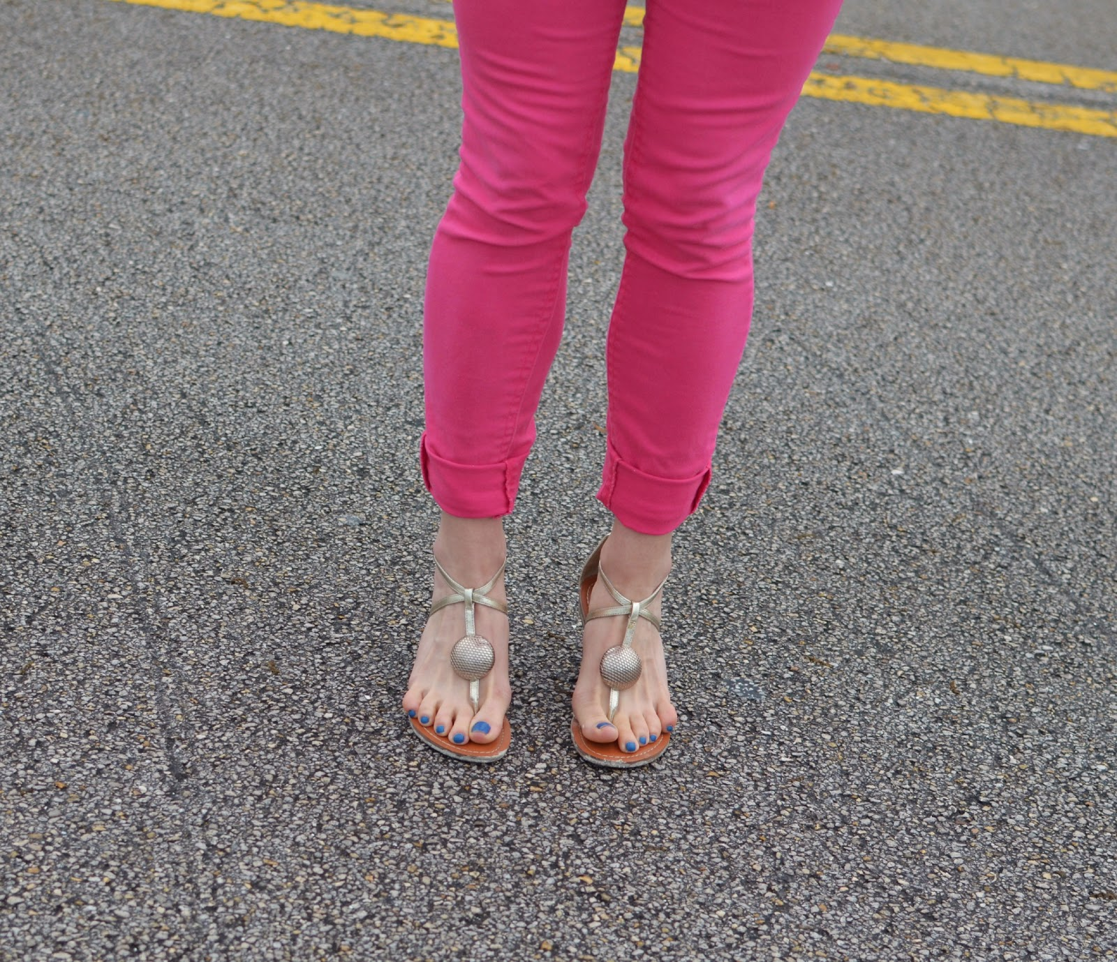 pink skinnies - silver sandals