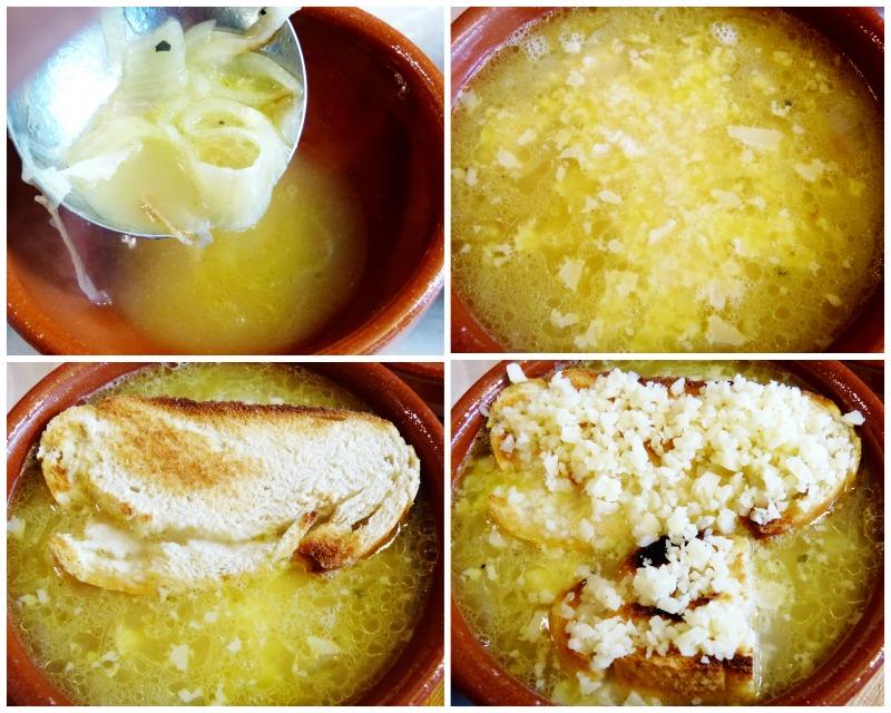 elaboración sopa de cebolla