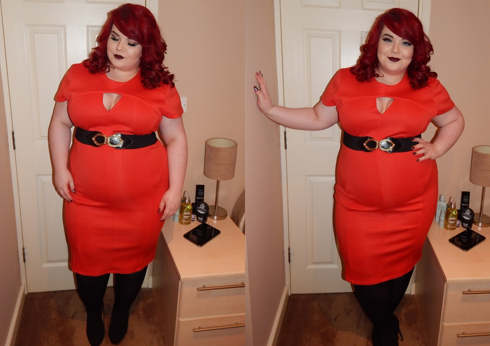 The Curve's Triangle Cut Out Dress in Red, plus size blogger, georgina grogan, shemightbeloved