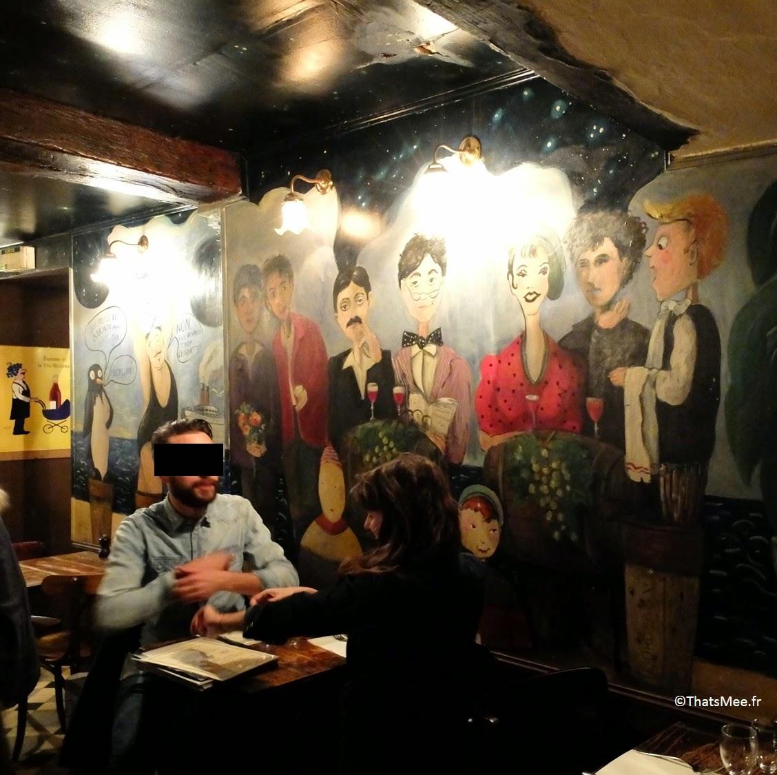 Resto bistro troquet Le Coude Fou Paris Marais, déco murale peinture fresques naives, cuisine traditionnelle française Coude Fou
