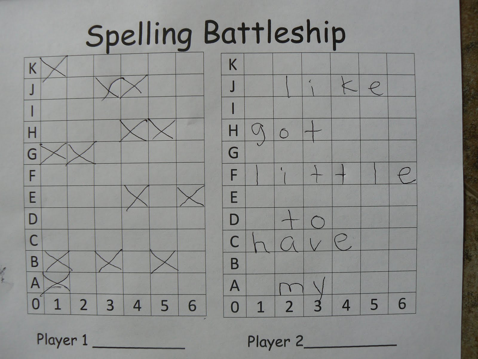 Mrs Ts First Grade Class Spelling Battleship