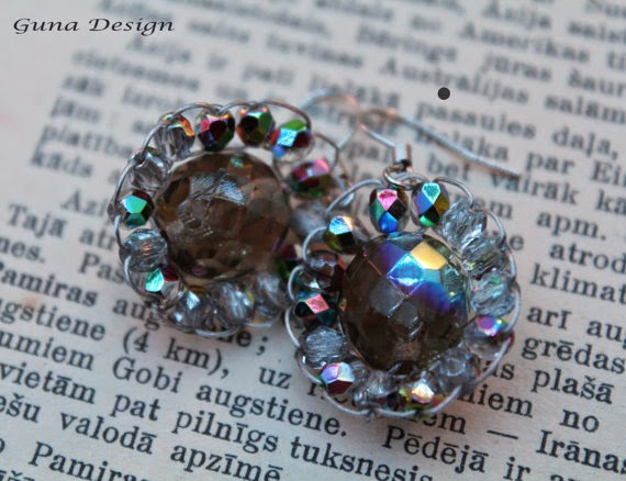 Crystal flower earrings gunadesign guna andersone