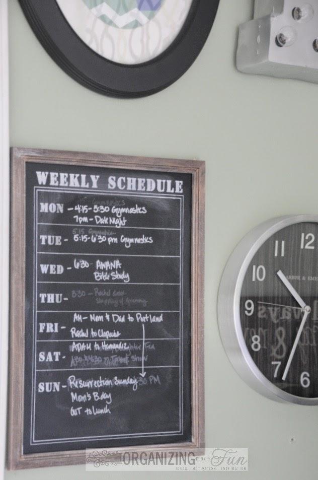 Framed chalkboard, weekly schedule :: OrganizingMadeFun.com