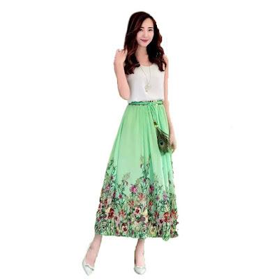 Model Rok Payung Panjang Motif Floral