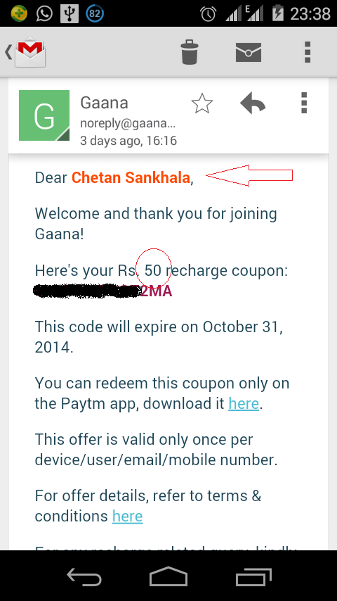 Get Rs 50 Free Recharge from Gaana Free Music App