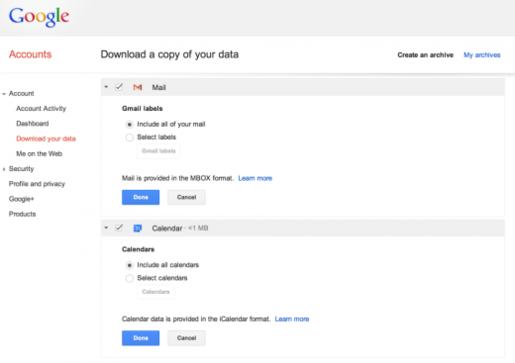 Google cho phép người dùng tải về bản sao dữ liệu từ Gmail và Calendar