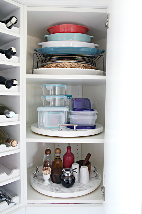 IHeart Organizing: Organized Kitchen Corner Cabinet with a DIY ...
