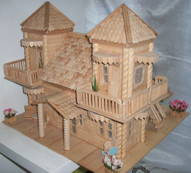 Miniatur rumah dari Stik Es ~ Dunia Arsitek