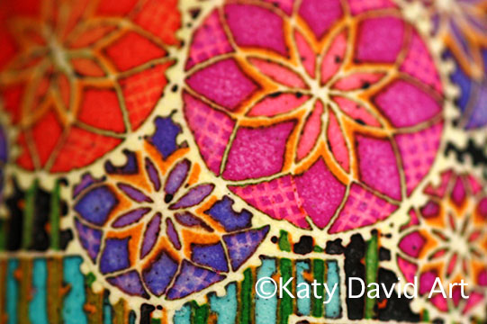 Star Flower Batik Eggshell in purple, orange and pink