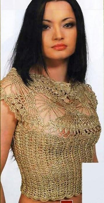 Patrones de Hermosa blusa con escote calado - al crochet