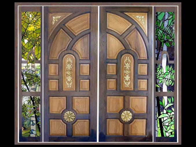 Kerala style wooden main door glass painted side window for Wooden window design with glass
