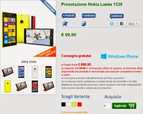 Già disponibile in pre vendita il Nokia Lumia 1520 al prezzo di 699 euro con spedizioni a fine novembre 2013