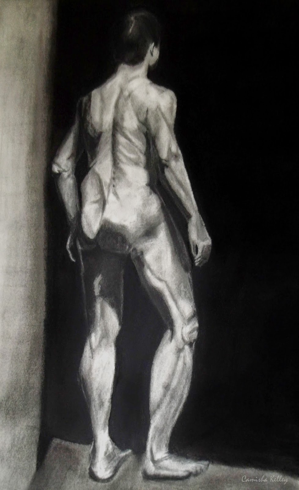 charcoal on white paper, rendered drawing of live model