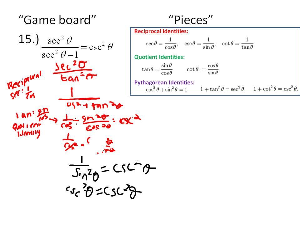 Simplifying Trig Identities Worksheet