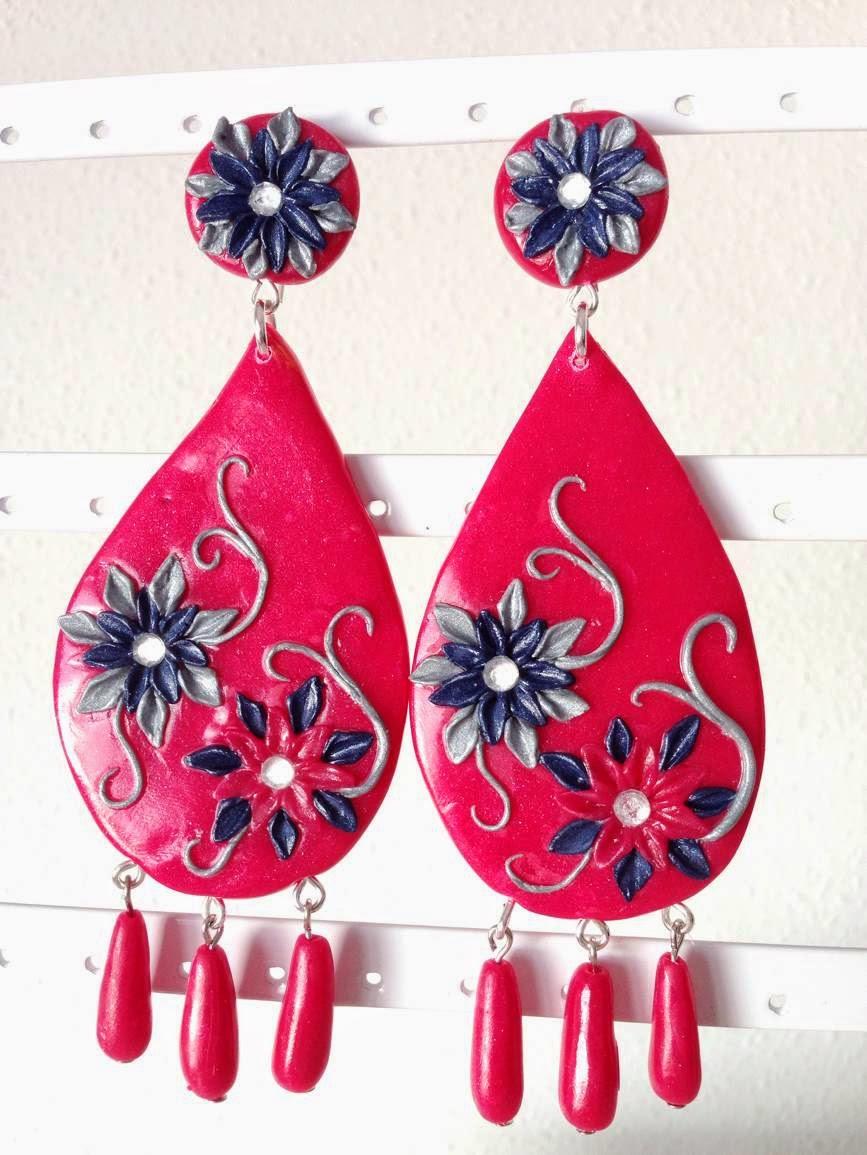 Pendientes flamenca hechos con FIMO