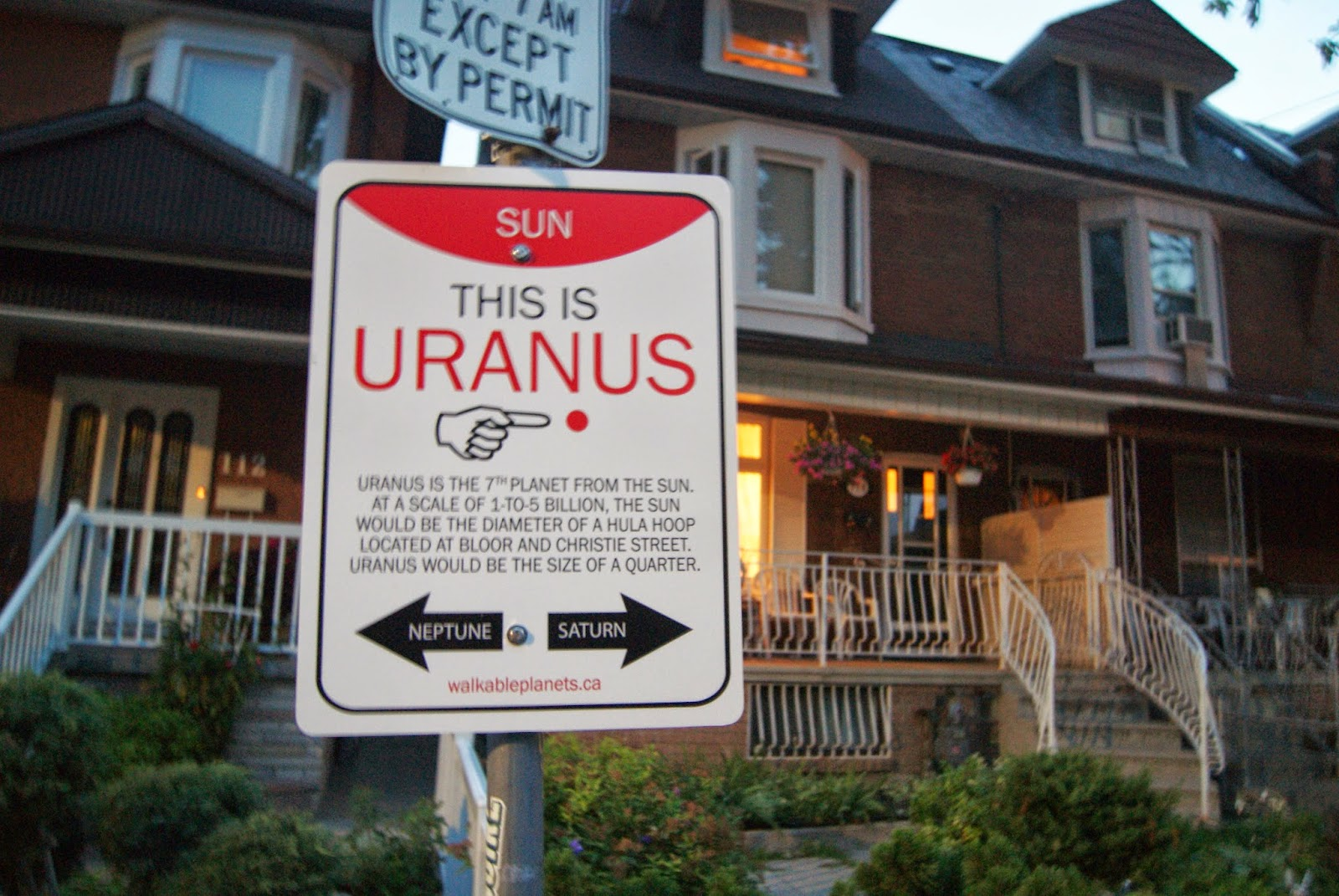 Uranus Wayfinding Sign from Walkable Planets scale solar system by Jode Roberts in Toronto, Public, Installation, Community, Project, Intervention, Explore, Grace Street, Gore Vale Avenue, Jane's Walk, 100-in1 Day, Ontario, Canada, Culture, Lifestyle, Galaxy, Art, Artist