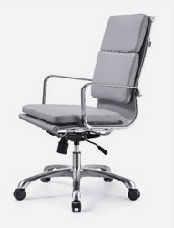 Hendrix High Back Gray Leather Chair by Woodstock