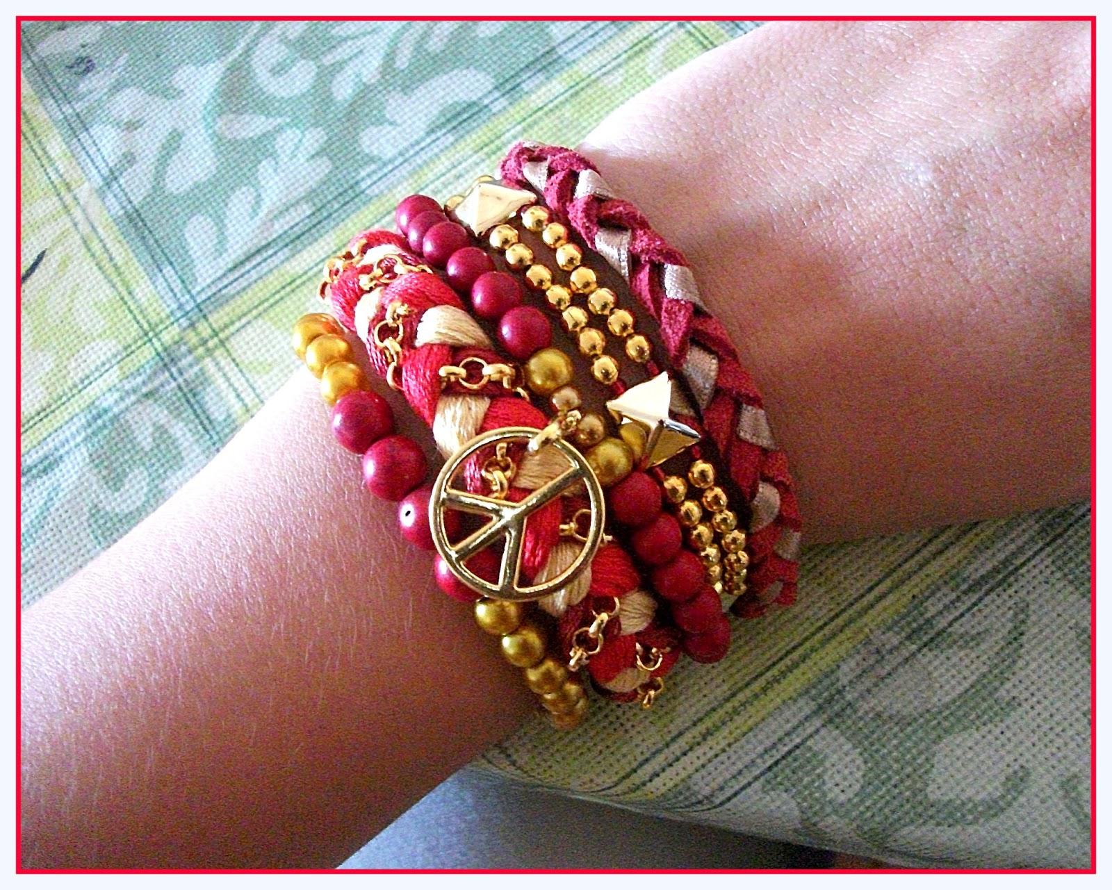 Nuevas multipuseras, más grandes, con más pulseras, hechas con hilo de bordar, perlas de cristal, piedras naturales, metal, piezas sintéticas, cadenas,