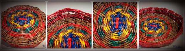 коллаж цветного панно из газетных трубочек