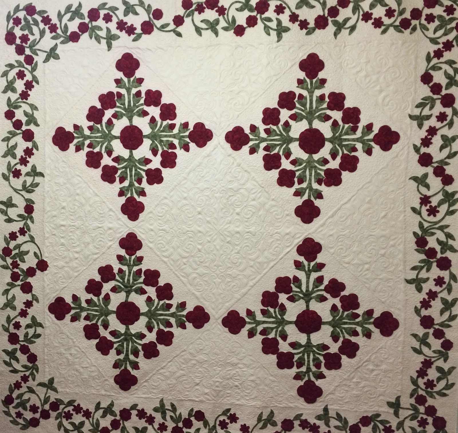Laura Waclawczyk Antique Red Flower Quilt