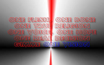 One Vision - Queen Song Lyric Quote in Text Image