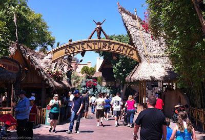Disneyland Adventureland entry entrance arch sign