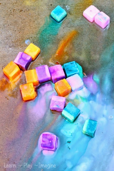 How to make erupting sidewalk chalk ice paint.
