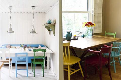 Bienestar y hogar mesa con sillas diferentes for Sillas madera colores