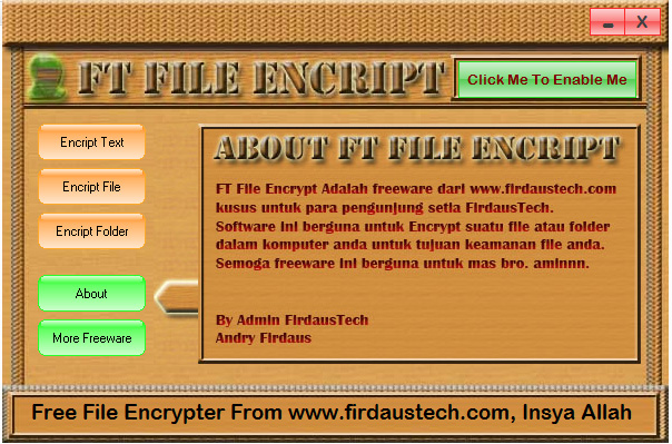 Screenshoot, Link MediaFire, Download FT File Encript | Software Untuk Pengaman Data | Mediafire