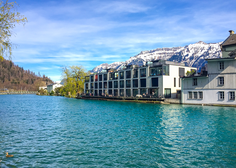 picturesque river or lake at the foot of Harder Klum in Interlaken Switzerland