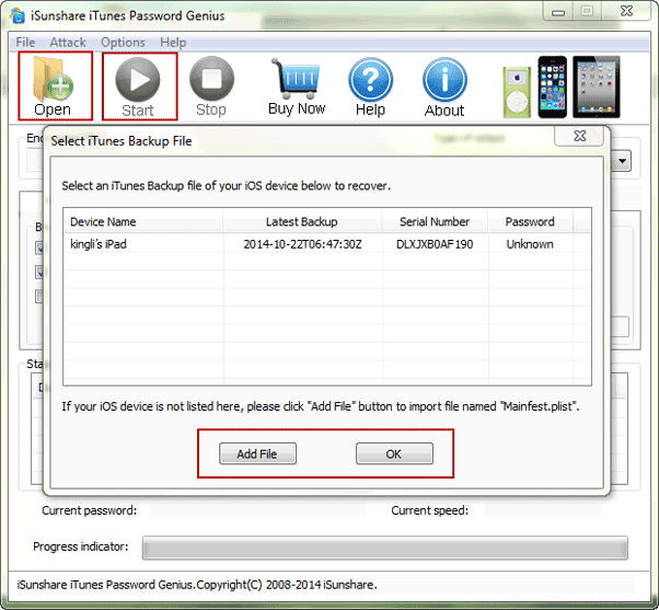 recover forgotten iTunes backup password with iTunes Password Genius