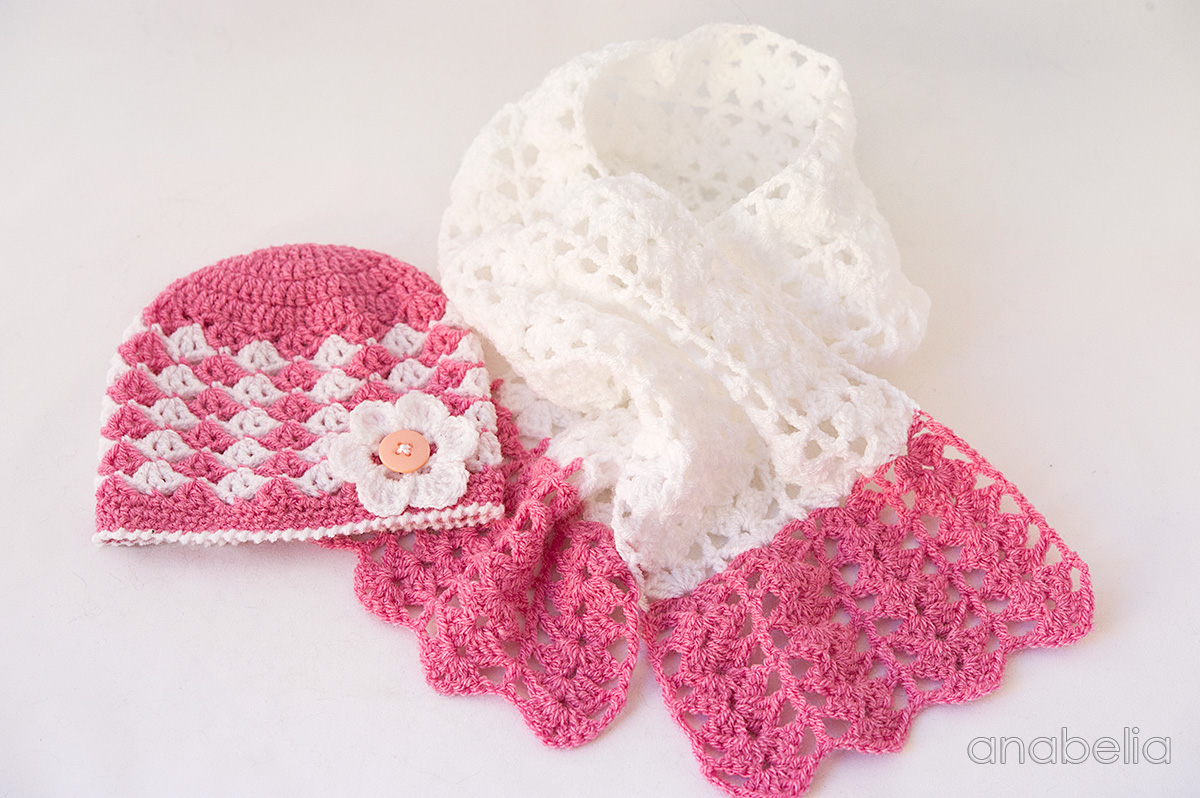 Crochet Pattern For Baby Hat And Scarf : Baby crochet hat and scarf, free pattern Anabelia Craft ...