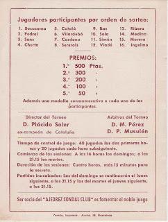 Reverso del folleto de Torneo de Ajedrez de Primavera 1943