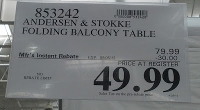 Deal for the Andersen & Stokke Dante Folding Space Balcony Table at Costco