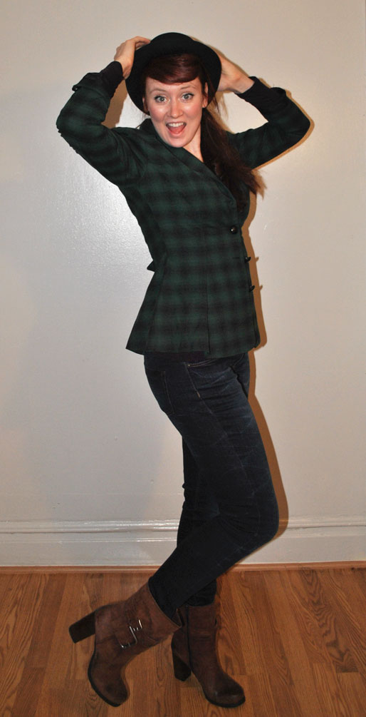 a style of your own blog, mollie booth parks, Betsey Johnson plaid jacket, Zara Jeans, Nine West boots