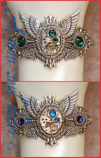 Bracelet Steampunk mouvement de montre mécanique bijouterie mécanisme ailes argent strass Swarovski bijoux
