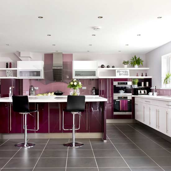 Purple And Green Kitchen Accessories: Beauty Houses: Purple Modern Interior Designs Kitchen