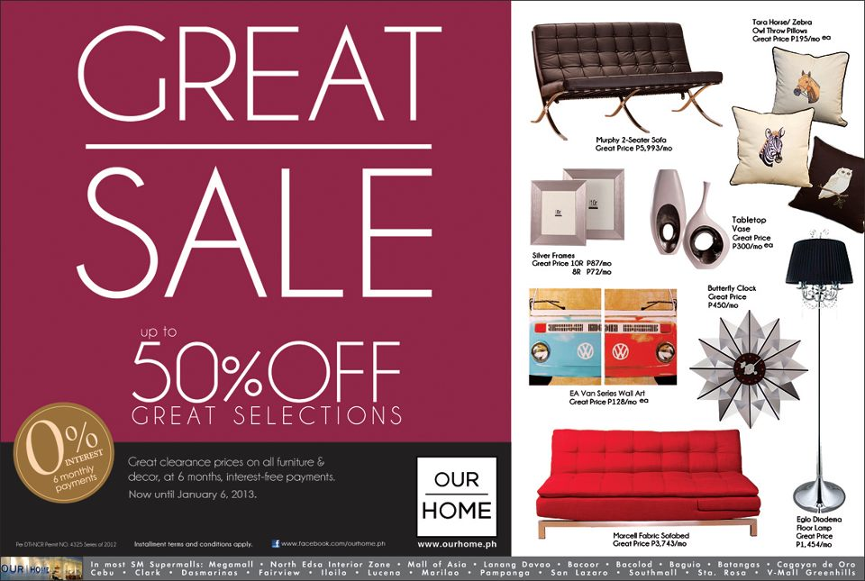 Our Home Great Sale Until Jan 6 2013 Pamurahan Your Ultimate Source Of Philippine Promos And