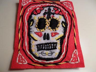 dia de los muertos inspired patch