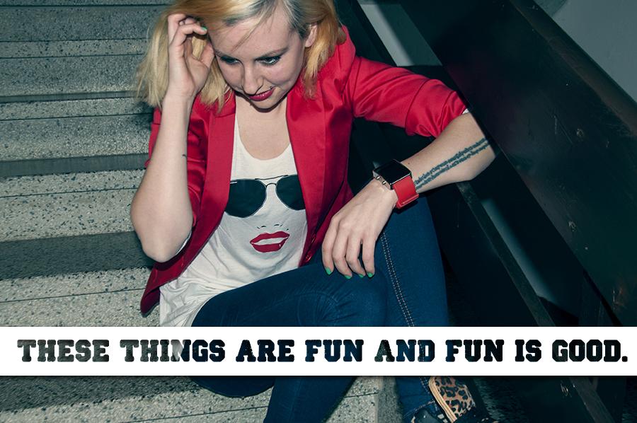 For Peet's Sake blog red blazer print top girl sitting on stairs