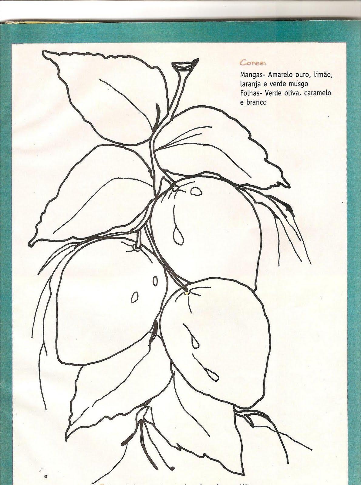 para pintura em tecidoCom flores, frutas e flores e frutas