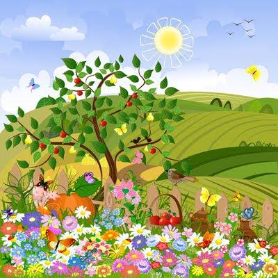 Ilustración artística de un paisaje rural con cercado de madera