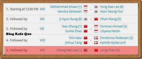 JADUAL DAN KEPUTUSAN BADMINTON DENMARK 2013, LEE CHONG WEI VS CHEN LONG WAKTU MALAYSIA ASTRO
