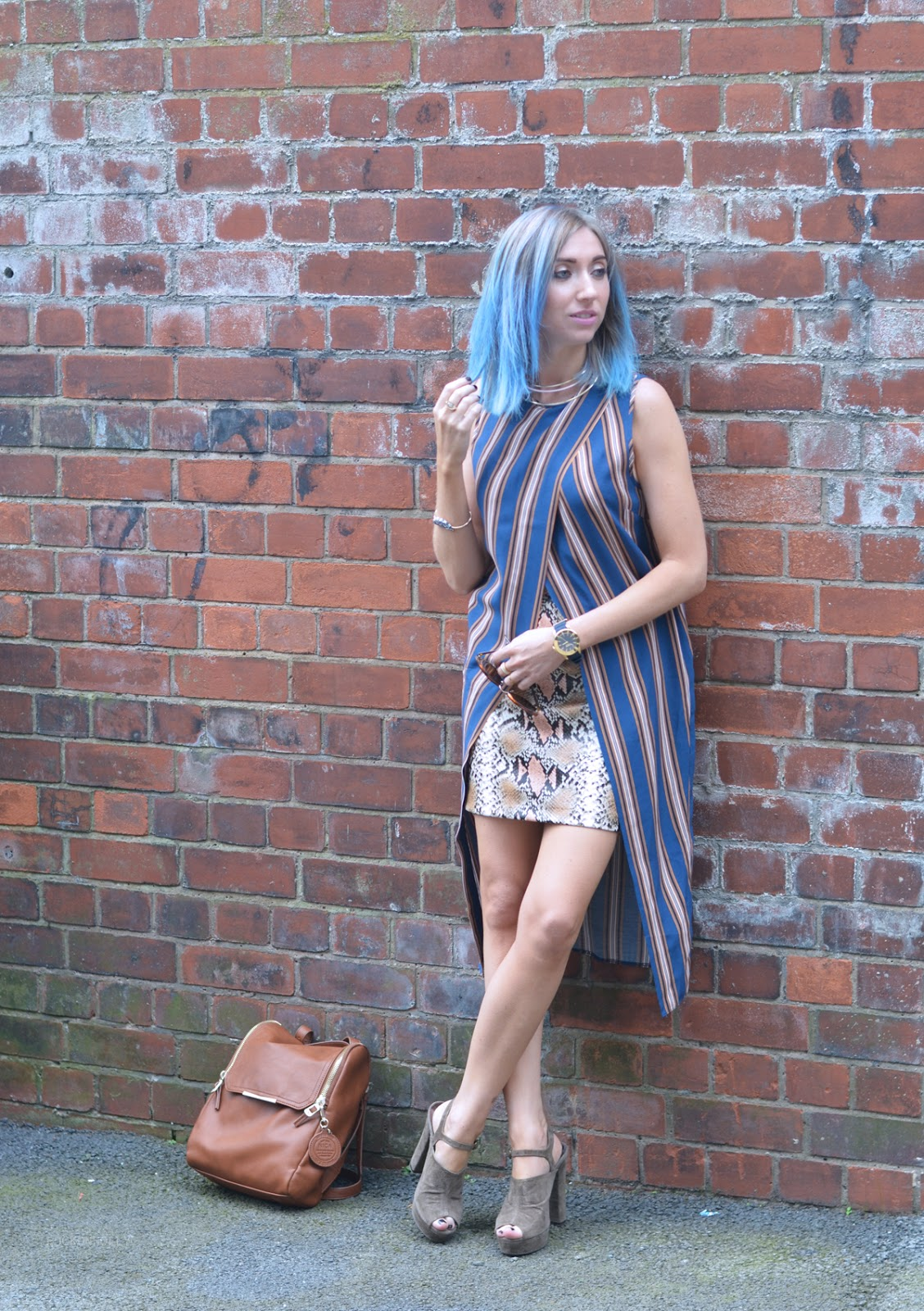 ASOS Stripes and Snakeskin skirt