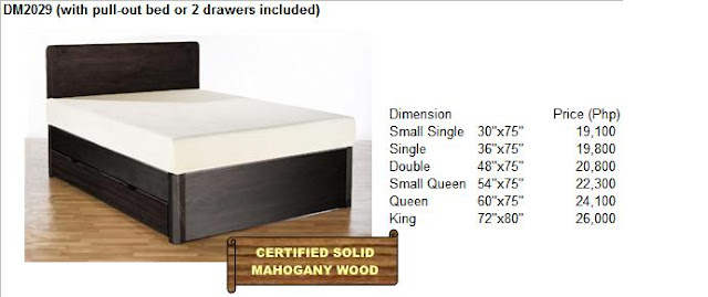Solid mahogany wood bed frame available in various designs sizes and