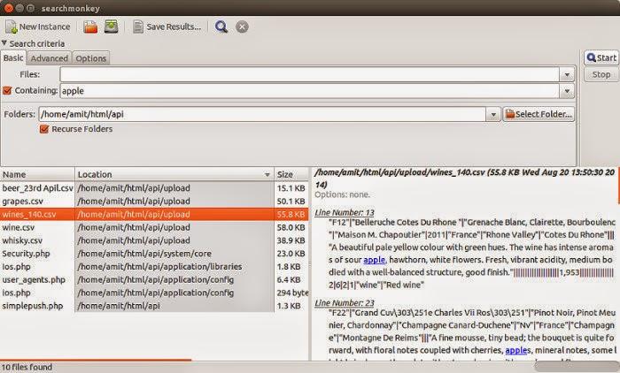 SearchMonkey pesquise por string nos arquivos