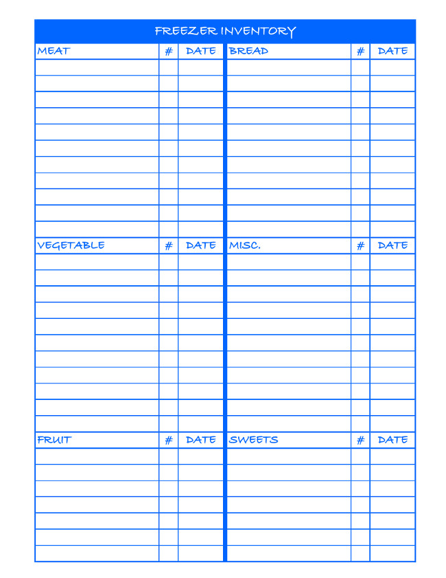 Freezer Inventory Printable - Blue